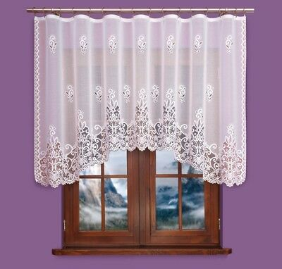 Beautiful new white Ready Made Jacquard Net Curtain with lace SALE