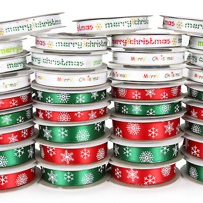 10m Reel Satin Christmas Snowflake & Merry Christmas Ribbon - 10mm & 16mm