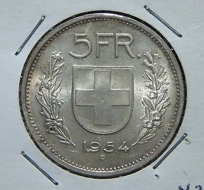 Switzerland - 1954 -Silver 5 Franc Coin - Great Condition!!!