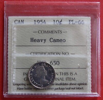 1954 Canada 10 Cent Silver Coin Dime XHB650 - ICCS Proof-Like PL-66 Heavy Cameo
