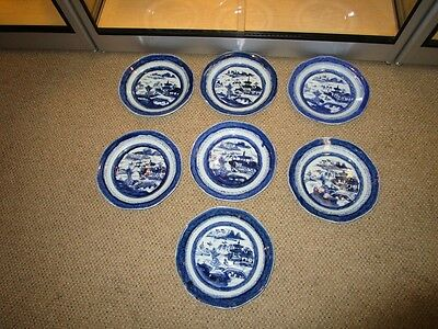 """7 Early 19c Antique Chinese Export Blue White Canton Porcelain 9"""" Plates c1830"""