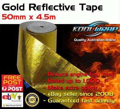 Gold Foil Heat Insulating Tape Hose Wrap Reflective Shield Adhesive 25mm x 4.5m