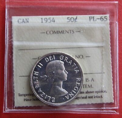 1954 Canada 50 Cent Silver Coin Fifty Half Dollar XHB516 - ICCS Proof-Like PL65