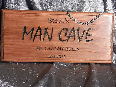 Personalised Man Cave Sign MY CAVE MY RULES - Engraved Timber