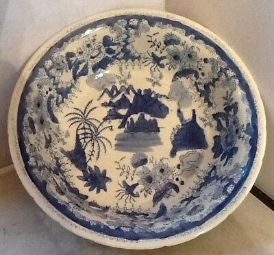 "Vintage Ironstone Blue White Oriental Design 12 1/4""  Bowl"