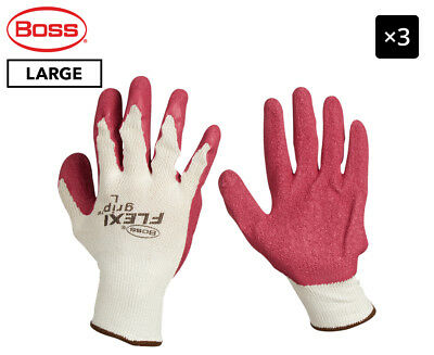 3 x Boss Large FlexiGrip Latex Palm Knitted Work Gloves - Red/Cream