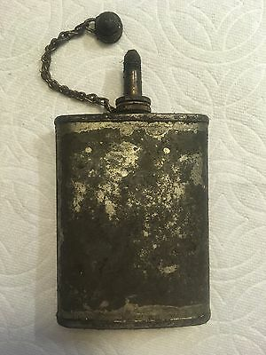 Vintage WWII Oil Can Gunners Rifle Maintenance GI Army Pocket Flask Unpainted-B