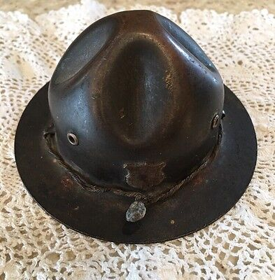 Stronghart Doughboy Soldier Hat Metal Bank Mountie Scout Hat Chicago Very Early