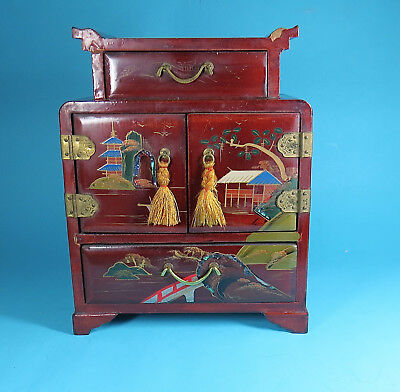 Antique Vintage Japanese Lacquer Wooden Jewelry Box, hand painted, inlaid,