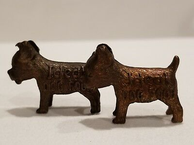 1950s Metal Miniature Ideal Dog Food Good Luck Advertising Charm Set of 2