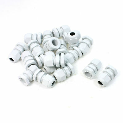 20 Pcs PG9 White Plastic Cable Glands 4mm - 8mm Line Fasteners IP67 24mm x 35mm