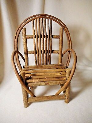 Vintage Child's Twig Lawn Chair-Wood Branch Chair-Small Child's Chair