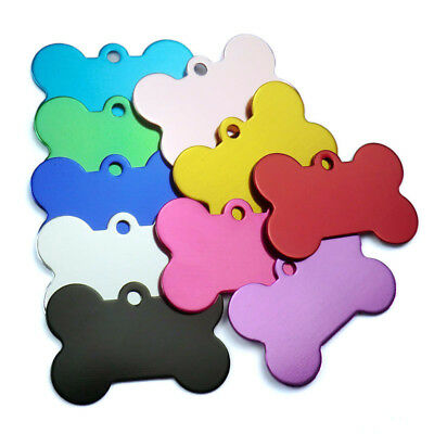 10PC Engraved Dog Tags Charms Personalized Bone Shape Pet Pet Puppy ID Name Tags