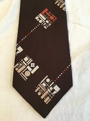 VINTAGE DAMON Brown Mod Mid Century Abstract FAT 60s 70s Mens Neck Tie