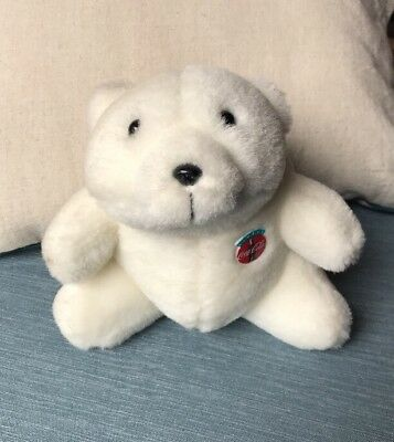 1993 Coca-Cola White Seated Polar Bear Plush Stuffed Animal Coke Bottle Badge 6""