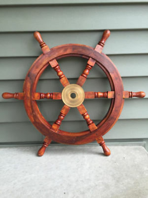 """Nautical Style 30"""" Wood And Brass Vintage Ships Wheel - Boat Decor, Beach Sw 05"""