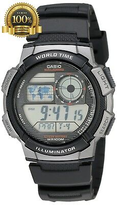 Original Casio Men AE1000W-1BVCF Silver Tone Black Digital Sport Watch Waterpoof
