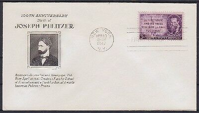 USA FDC 554, gest. New York 1947, Joseph Pulitzer, first day cover