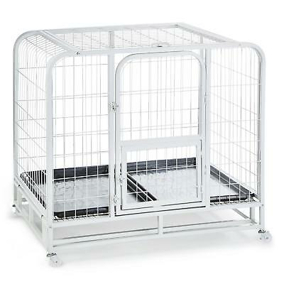 104x78x102 cm DOG CAGE PET TRAINING PORTABLE METAL 2 LOCKABLE DOOR PVC TRANSPORT