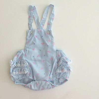 Vintage Newborn 0 3 Sunsuit Blue Romper Girl Lace Ruffle Photo Outfit Doll