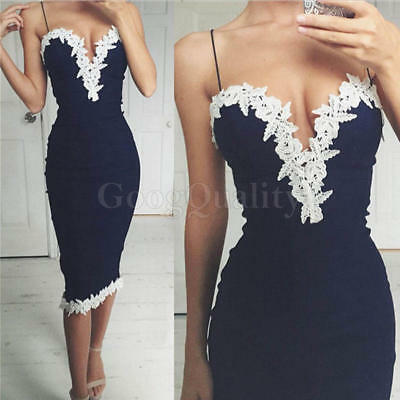 Sexy Women Summer Casual Bandage Bodycon Lace Party Cocktail Short Mini Dress 1X