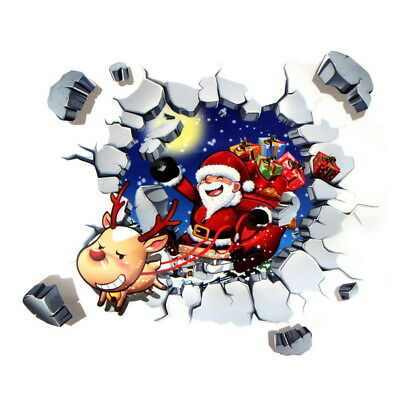 3D Window Wall Sticker Christmas Santa Claus Adhesive Sticker Home Busines Decor