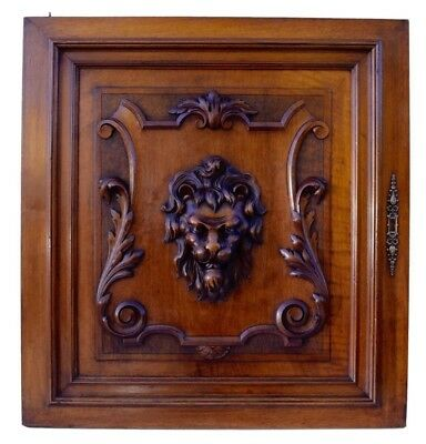 French Architectural Antique Carved Wood Thick Lion Cabinet Door Panel 19th.C