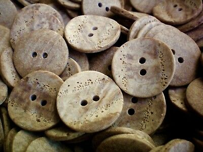 Large 25mm 40L Light Brown Wooden Wood Effect Coat Craft 2 Hole Buttons W364