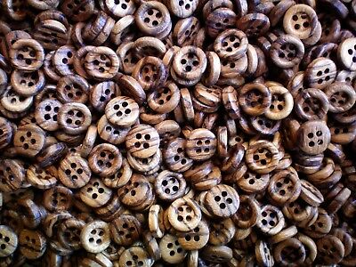 Small 12mm Golden Brown Wooden Wood Effect Natural Craft 4 Hole Buttons (W368)