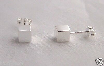 925 Sterling Silver Small 5mm Plain CUBE Square Studs Earrings X'Mas GIFT BOX BN