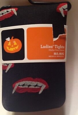 Womens Pantyhose Tights Vampire Dracula Bite Goth Halloween Size M/L