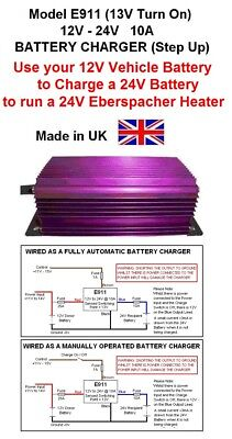 BATTERY CHARGER 12V to 24V 10AMP/240W, Run 24V Eberspacher Heater in 12V Vehicle