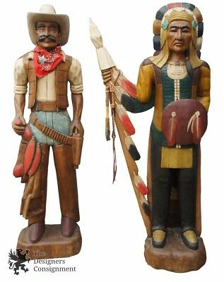 2 Cigar Store Life Size Carved Figures Cowboy Indian Statue Chief American 6'