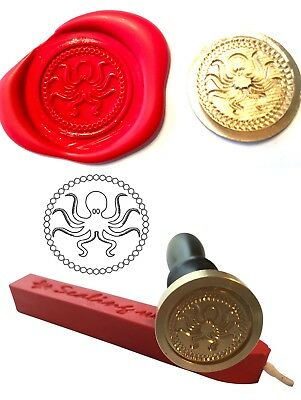 Wax Stamp, OCTOPUS Sea Life Coin Seal and Red Wax Stick Wax Stamp XWSC125-KIT
