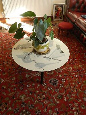 Vintage 1950s~1960s Round Circular Coffee Table with Musical Instruments Motifs