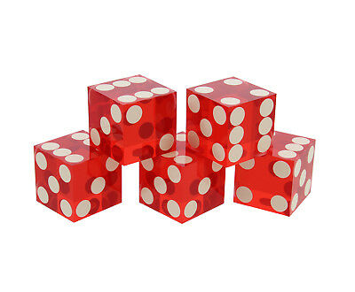 Precision Casino Dice 6-Sided 19mm Playing Dice Translucent Red 5pk