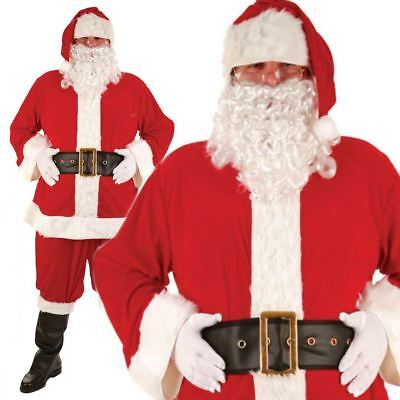 Adult Super Deluxe Santa Suit Father Christmas Xmas Fancy Dress Costume Outfit