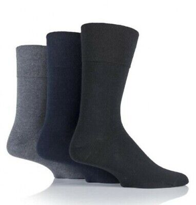 Mens 3 Pair Pack Sockshop Gentle Plain Bamboo Socks