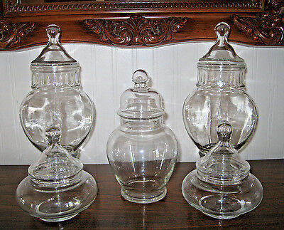 5 Glass Apothecary Display Storage Jars Lot set Christmas Candy Dishes