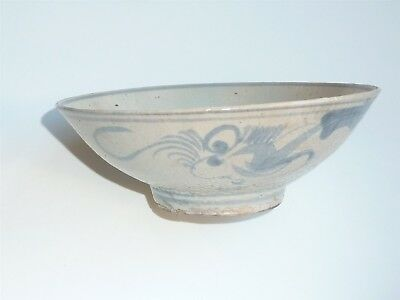 Beautiful Chinese Ming Dynasty Bowl Faded Big Eyed Fish Design