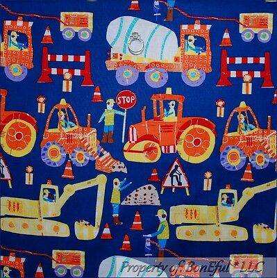 BonEful FABRIC FQ Cotton Blue Red Monster Tractor Truck Construction Vehicle Boy