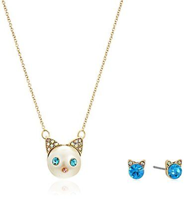 Betsey Johnson Angel Cat Pendant Necklace with Blue Stone Cat Studs
