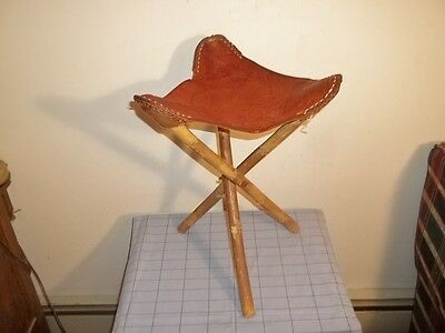 Excellent Vtg Hand Tooled Leather Seat Folding Wood Legs Tripod Saddle Gmtry Best Dining Table And Chair Ideas Images Gmtryco