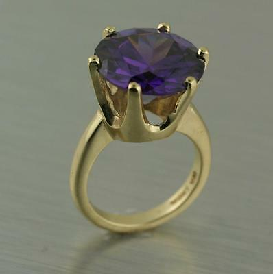 Amethyst Birthstone Ring 10K Yellow Gold Large 14mm Created Round Gemstone