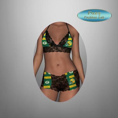 2aeedb21305 Sexy NFL Green Bay Packers black lace top and lace boy shorts lingerie