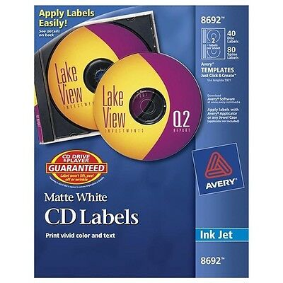 Avery Dennison AVE8692 CD/DVD Label~NEW~40 Disc Labels/80 Spin Labels