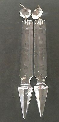 Chandelier Crystals 2 Glass Spear Prisms Antique Gothic Parts Vintage 7""