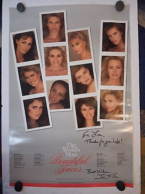 """1988 """"The World's Most Beautiful Faces"""" Poster - SIGNED by Ian Miles - RARE"""