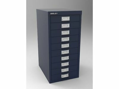 PRUSSIAN BLUE 10 MULTI DRAWER 'BISLEY' FILING CABINET - NEW 590H x 279W x 380D