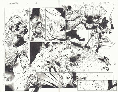 Mighty Thor #2 pgs. 4 & 5 - Sif Action DPS - 2011 Signed art by Olivier Coipel